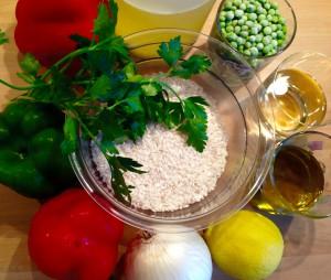 Zutaten aus der Mittelmeerküche für die Paella