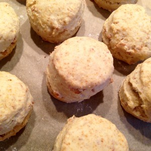 Frisch gebackene Röstzwiebel-Scones