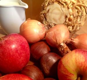 Frische Zutaten für die Maronensuppe