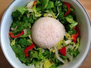 Frischer Salat und Reis
