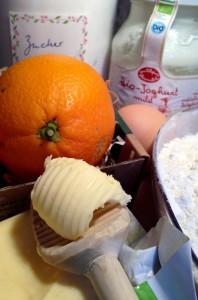 Zutaten Sandkuchen mit Orange und Joghurt