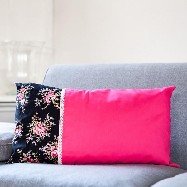 Zirbenkissen pink-schwarz, gross