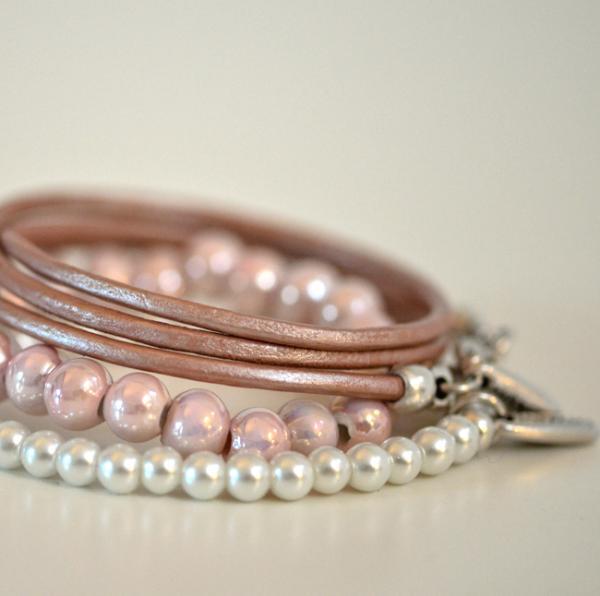 3er Set Armbändchen, rosa